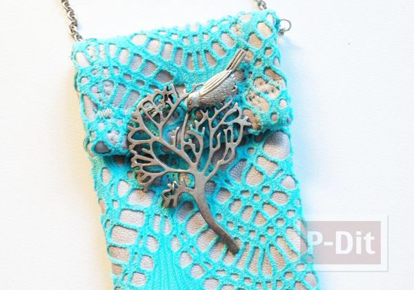 รูป 4 ซองใส่มือถือ ทำจากผ้าลูกไม้
