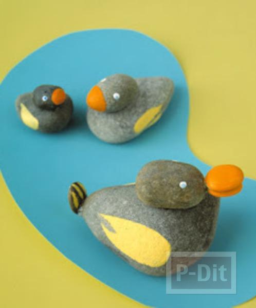 รูป 3 ระบายสีก้อนหิน ตกแต่งประดับบ้าน