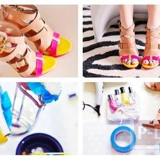 รองเท้าส้นสูง ตกแต่งแต้มสีสัน สดใส