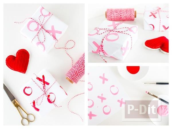 รูป 1 กระดาษห่อของขวัญ ลายสวย ระบายสีชมพู-แดง