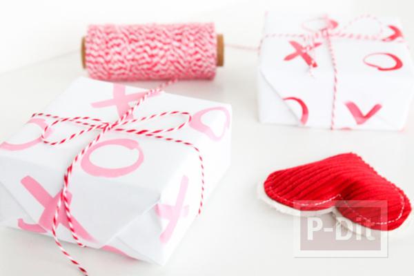 รูป 5 กระดาษห่อของขวัญ ลายสวย ระบายสีชมพู-แดง