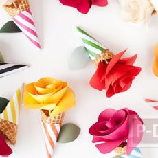 โคนดอกกุหลาบ ประดิษฐ์จากกระดาษสีสวย