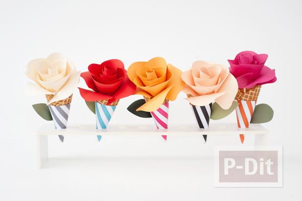 รูป 2 โคนดอกกุหลาบ ประดิษฐ์จากกระดาษสีสวย