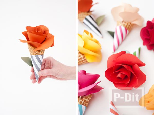 รูป 5 โคนดอกกุหลาบ ประดิษฐ์จากกระดาษสีสวย