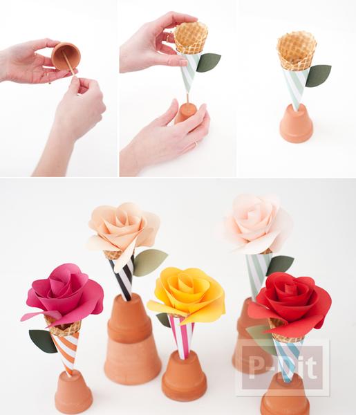 รูป 7 โคนดอกกุหลาบ ประดิษฐ์จากกระดาษสีสวย