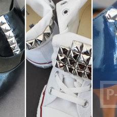 รองเท้าผ้าใบ รองเท้าคัชชู ตกแต่งหมุดเงิน