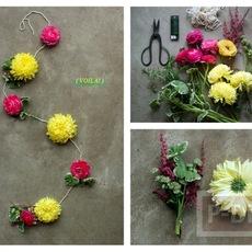 วิธีทำ โมบายดอกไม้สด ร้อยเชือก