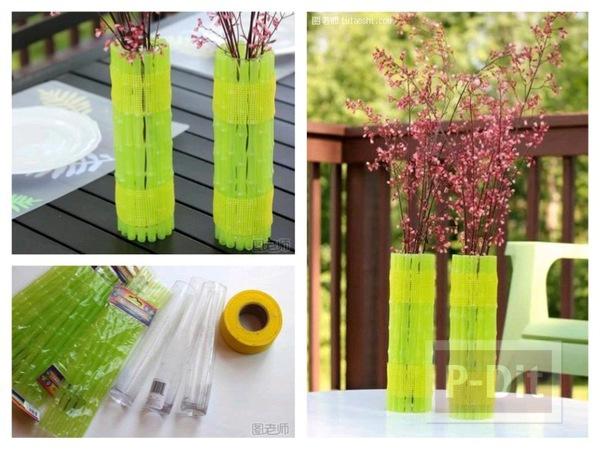 รูป 1 แจกันดอกไม้สวยๆ หุ้มด้วยหลอดสีเขียว