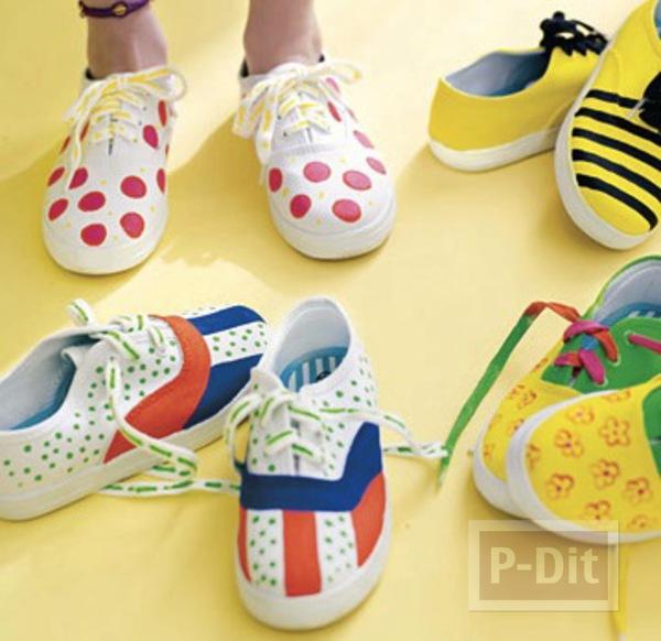ตกแต่งรองเท้าสวยๆ สีสด ด้วยพู่กันแต้มสี
