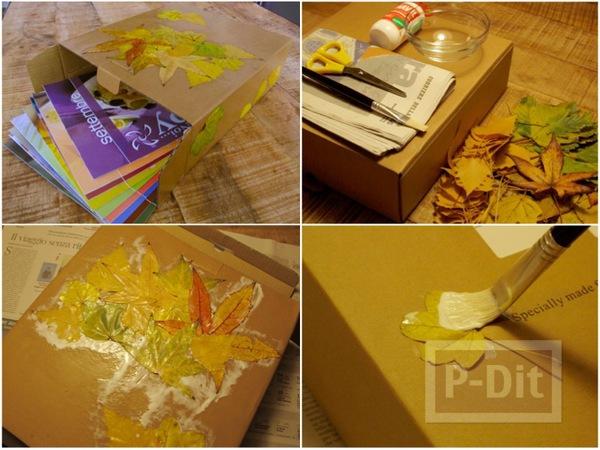 รูป 1 ตกแต่งกล่องกระดาษ ด้วยใบไม้แห้ง