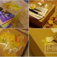 ตกแต่งกล่องกระดาษ ด้วยใบไม้แห้ง