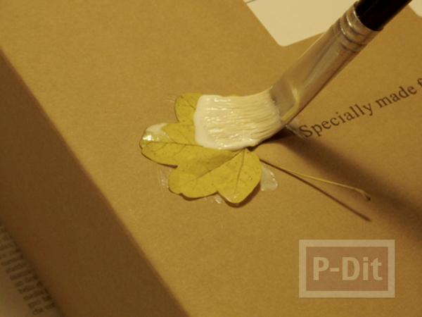 รูป 4 ตกแต่งกล่องกระดาษ ด้วยใบไม้แห้ง
