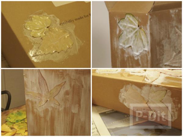 รูป 5 ตกแต่งกล่องกระดาษ ด้วยใบไม้แห้ง