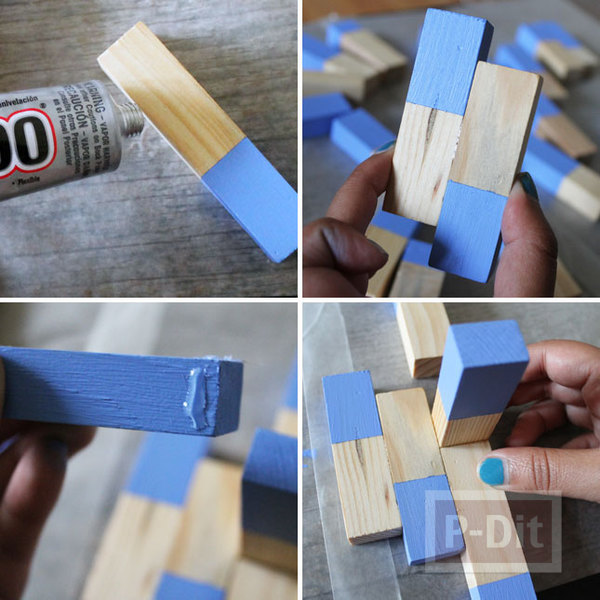รูป 2 ที่แขวนเครื่องประดับ ทำจากบล็อคไม้