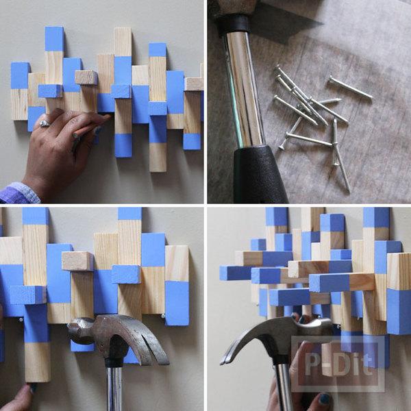 รูป 5 ที่แขวนเครื่องประดับ ทำจากบล็อคไม้