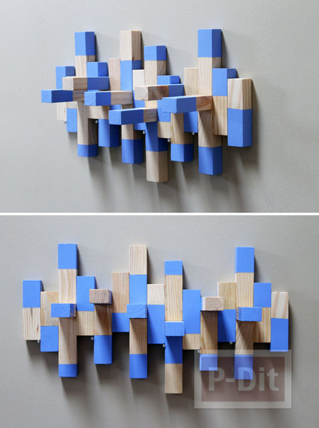 รูป 6 ที่แขวนเครื่องประดับ ทำจากบล็อคไม้