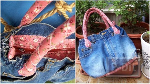 กระเป๋าถือ ทำจากกางเกงยีนส์ เย็บสีสวย
