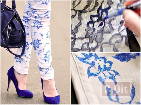กางเกงลายดอกไม้ วาดจากผ้าลูกไม้