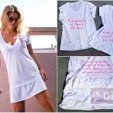 ชุดเดรส ทำจากเสื้อยืด สีขาว