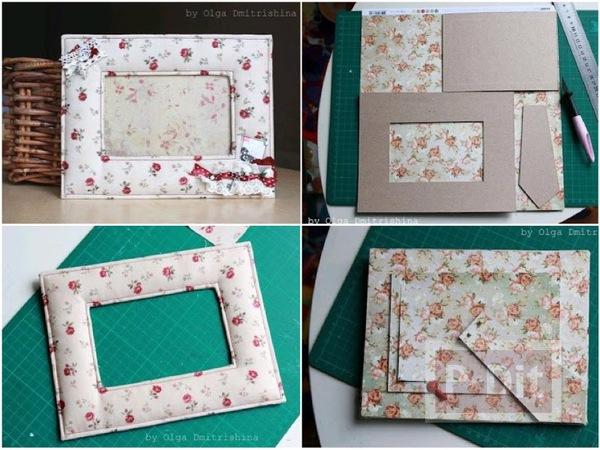 กรอบรูปสวยๆ ทำจากกระดาษแข็งหุ้มผ้า