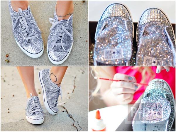 รูป 1 รองเท้าผ้าใบ ตกแต่งสวยๆ ด้วยกากเพชร