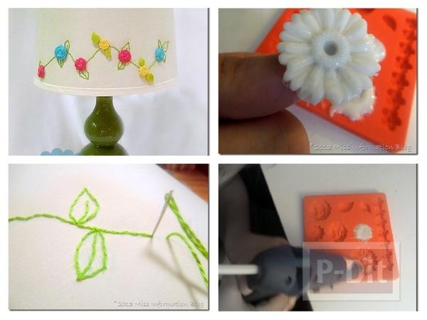 รูป 1 โคมไฟตั้งโต๊ะ ตกแต่งลายดอกไม้ สวยๆ
