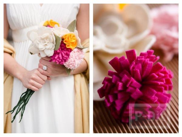 ดอกไม้งานแต่งงาน ทำจากเศษผ้า กำมะหยี่