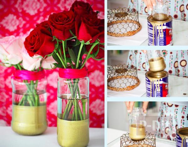 รูป 1 แจกันดอกไม้ ชุบสี ประดับบ้าน