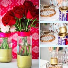 แจกันดอกไม้ ชุบสี ประดับบ้าน