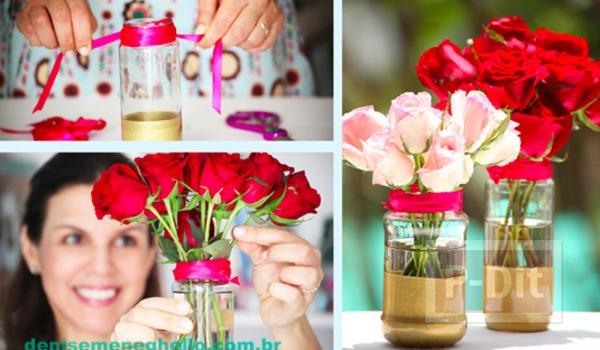 รูป 2 แจกันดอกไม้ ชุบสี ประดับบ้าน