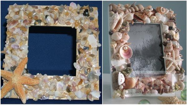 กรอบรูป ตกแต่งด้วยเปลือกหอย ประดับบ้าน
