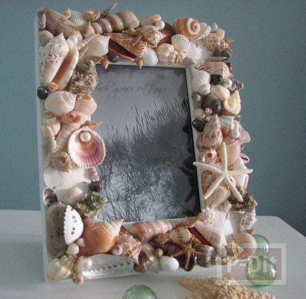 รูป 3 กรอบรูป ตกแต่งด้วยเปลือกหอย ประดับบ้าน