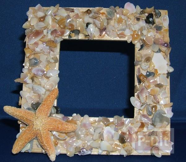 รูป 5 กรอบรูป ตกแต่งด้วยเปลือกหอย ประดับบ้าน