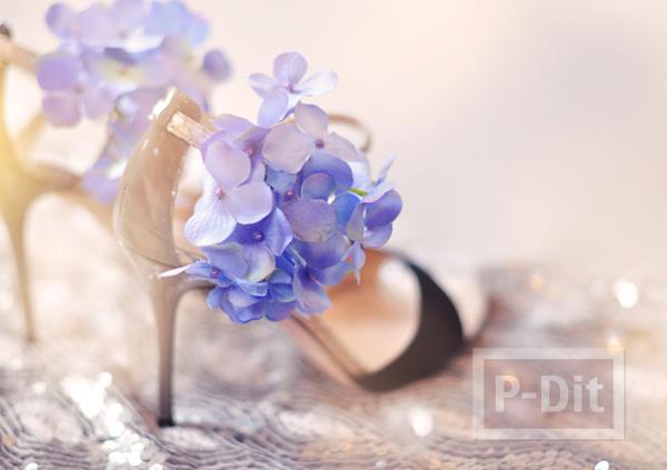รูป 2 รองเท้า กิ๊บติดผม ตกแต่งจากดอกไม้ประดิษฐ์