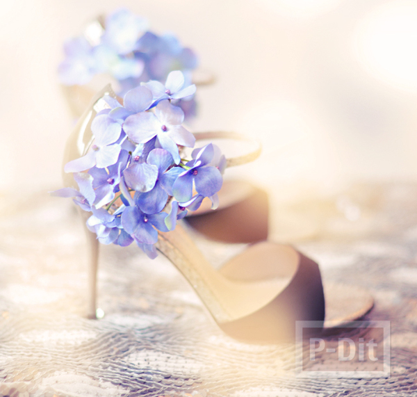 รูป 6 รองเท้า กิ๊บติดผม ตกแต่งจากดอกไม้ประดิษฐ์