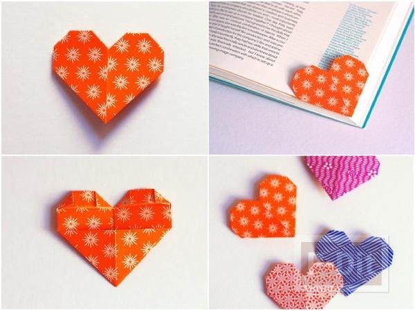 รูป 1 สอนพับที่คั่นหนังสือ ลายหัวใจ