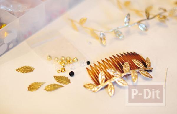 รูป 5 ตกแต่งหวีสับผม ด้วยใบไม้สีทอง เม็ดพลาสติกหลากสี