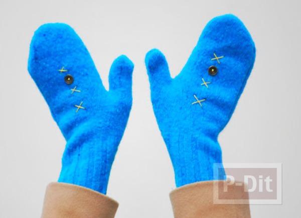 เย็บถุงมือจากเสื้อกันหนาว ตัวเก่า