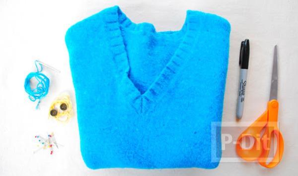รูป 3 เย็บถุงมือจากเสื้อกันหนาว ตัวเก่า
