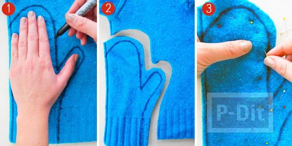 รูป 4 เย็บถุงมือจากเสื้อกันหนาว ตัวเก่า