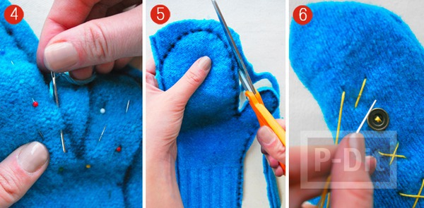 รูป 5 เย็บถุงมือจากเสื้อกันหนาว ตัวเก่า