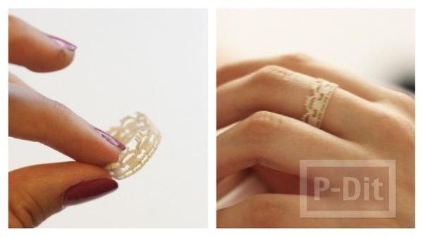 รูป 1 แหวนใส่เล่น ทำจากลูกไม้ สีขาว