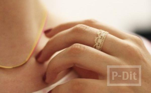 รูป 6 แหวนใส่เล่น ทำจากลูกไม้ สีขาว