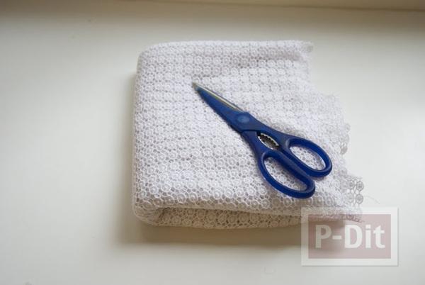 รูป 4 เย็บเสื้อกล้ามลายลูกไม้ สีขาว