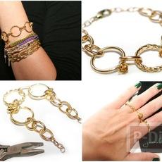 สร้อยข้อมือ ตกแต่งด้วยแหวน สีทองสวย