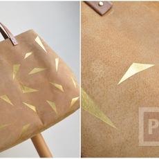 กระเป๋าตกแต่งใหม่ ลายสามเหลี่ยม สีทอง