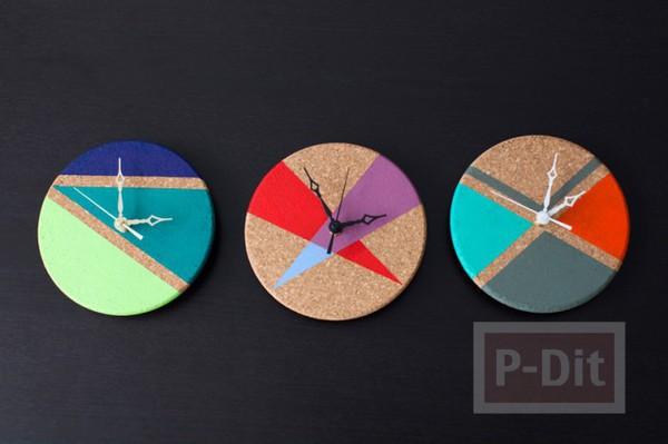 รูป 7 นาฬิกาตกแต่งบ้าน ทำเองจากแผ่นไม้ก๊อก