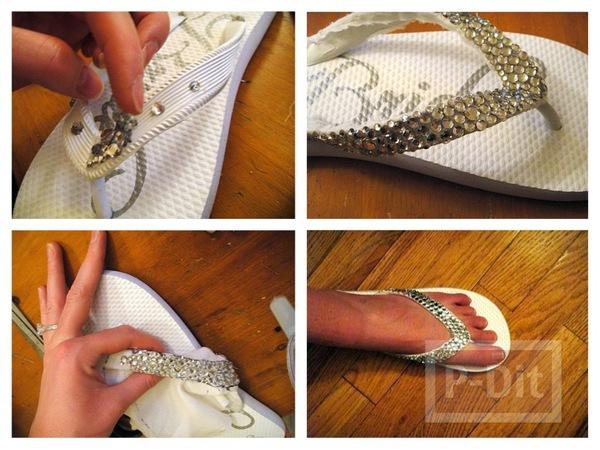 รองเท้าแตะ ตกแต่งด้วยเม็ดพลาสติก สวย สดใส