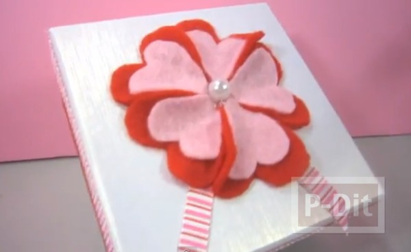 รูป 1 ตกแต่งกล่องของขวัญ ด้วยดอกไม้ ประดับ