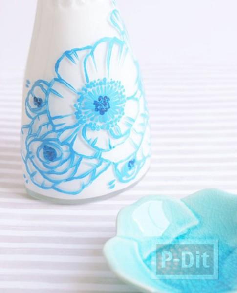 แจกันสวยๆ เติมสีระบายรูปดอกไม้